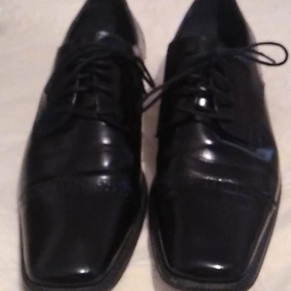 Mens black Stacy Adams lace up dress shoes sz 11